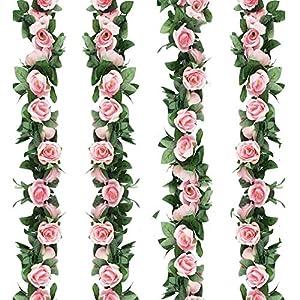 FAMI 4PCS(28.8 FT) Artificial Rose Vines Fake Silk Flowers Rose Garlands Hanging Rose Ivy Plants for Wedding Home Office Arch Arrangement Decoration 59