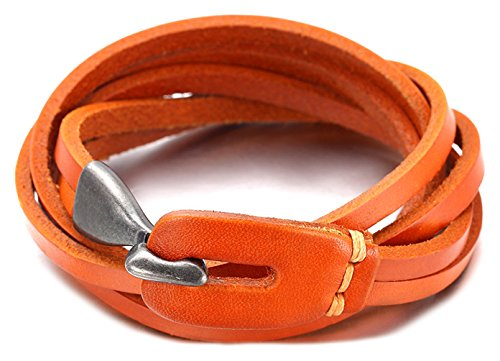 Hallery 3 Laps Twining Metal Hook Strap Buckle Leather Bracelets (Orange Leather Bracelet)
