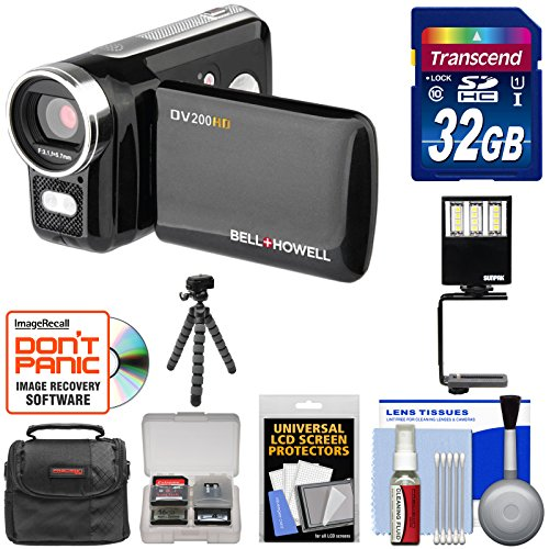 Bell & Howell DV200HD HD Video Camera Camcorder with Built-in Video Light 32GB Card + Video Light + Tripod + Case + Kit by Bell + Howell