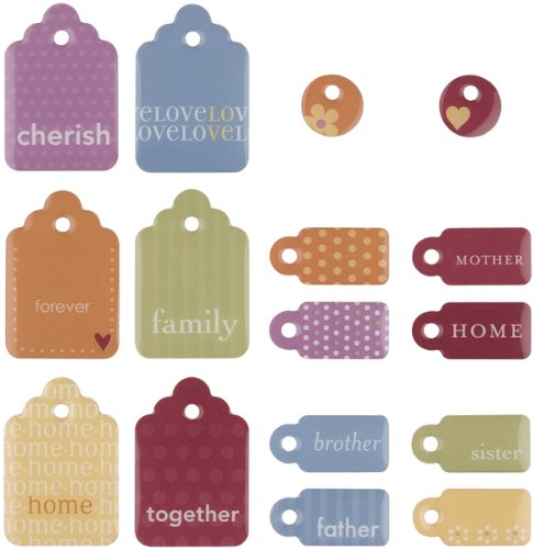 MAKING MEMORIES Sweets Dimensional 2, Sided Embellishments, Tags Family In - Embellishments Dimensional Sweets Sided 2