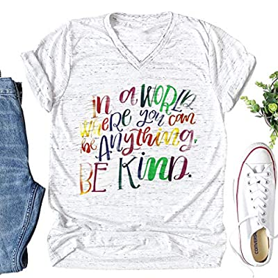 Kind Letters Print Women T Shirt Funny Cotton Casual Shirt for Lady Top Tee Christmas Clothes