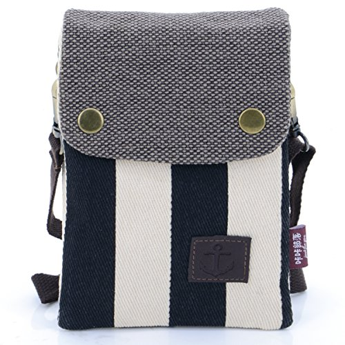 u-times-girls-cute-nautical-stripe-canvas-crossbody-shoulder-pouch-6-inch-phone-wallet-bagblack