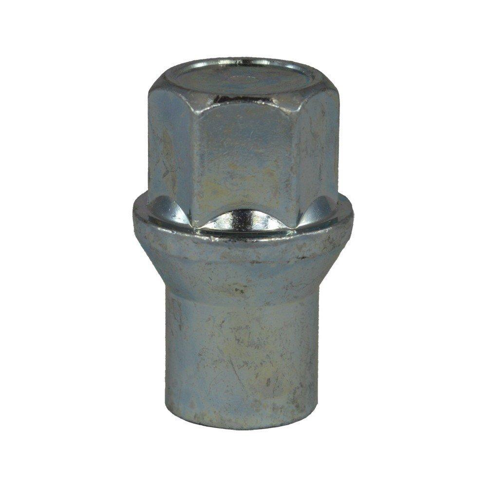 Lunghezza 36 mm EVOCORSE Dado ruota cieco con collare M12x1.25 4 pz Zincato bianco Chiave 19