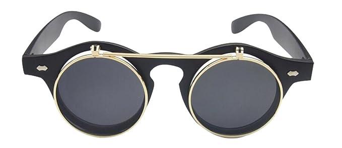 JYR Unisex Retro Flip Up Round Double Layers Steampunk Goth Goggles Sunglasses - Black dmx32u