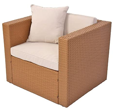 Homy - Sofa Modular ROMA, en poli-rattan, color marrón arena ...