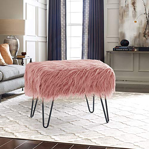 Home Soft Things Serenta Mongolian Faux Fur Ottoman, 19