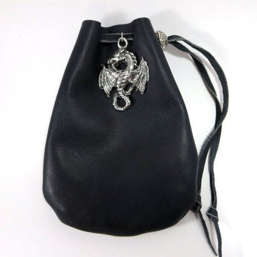 Handmade Black Leather & Pewter Dragon Accent Drawstring Pouch