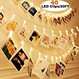 Genevo 19.7ft 40 LED Photo Clip String Lights Holder Battery Powered White Warm Fairy String Lights for Bedroom Hanging Cards Artwork Halloween Christmas Birthday Party Wedding Indoor Outdoor Decor
