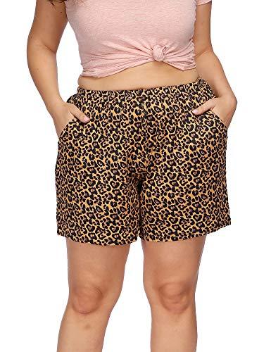 Allegrace Women's Plus Size Casual Leopard Print Pajama Shorts Pocket Short Sleep Pants Yellow Leopard 3X