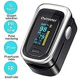Oxímetro de Pulso de Dedo, Monitor de saturación de oxígeno en Sangre, medidor de frecuencia cardíaca, frecuencia respiratoria y índice de perfusión sanguínea