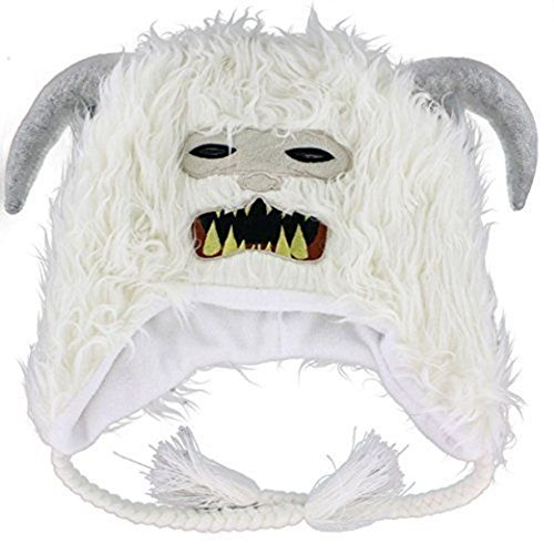 Wampa Costume (Star Wars Wampa Licensed Adult Peruvian Beanie Laplander Furry White Winter Hat)