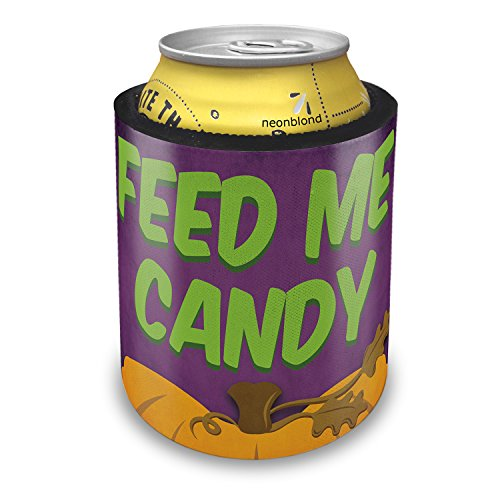 NEONBLOND Feed Me Candy Halloween Pumpkin Top Slap Can Cooler Insulator Sleeve -