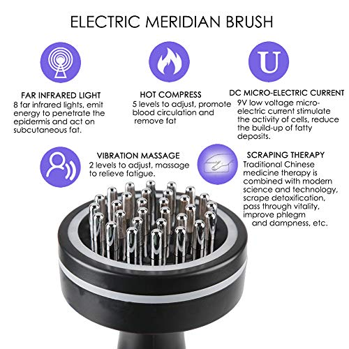Meridian Brush, Infrared Micro-Electric Heating Health Scraping Device Slimming Body Brush, Gentle Natural Cellulite Massager and Exfoliating Lymphatic Scrub Brush For Radiant and Smoother Skin by Salmue (Image #3)
