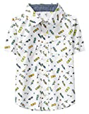 Crazy 8 Little Boys' Short Sleeve Woven Button Down Tee, White/Yellow/Blue Skateboard, M