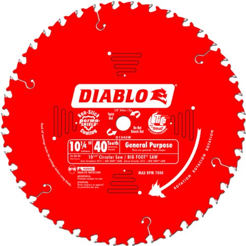 Freud D1040W Diablo 10-1/4-Inch 40 Tooth ATB General Purpose Saw Blade with 5/8-Inch and Diamond Knockout Arbor