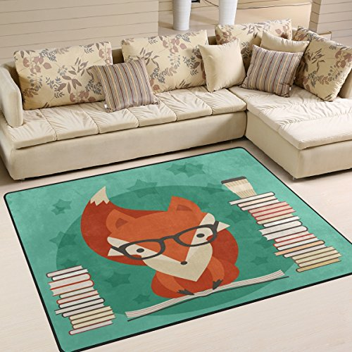 ALAZA Educational Fox Reading Book Area Rug Rugs for Living Room Bedroom 5'3 x 4' -
