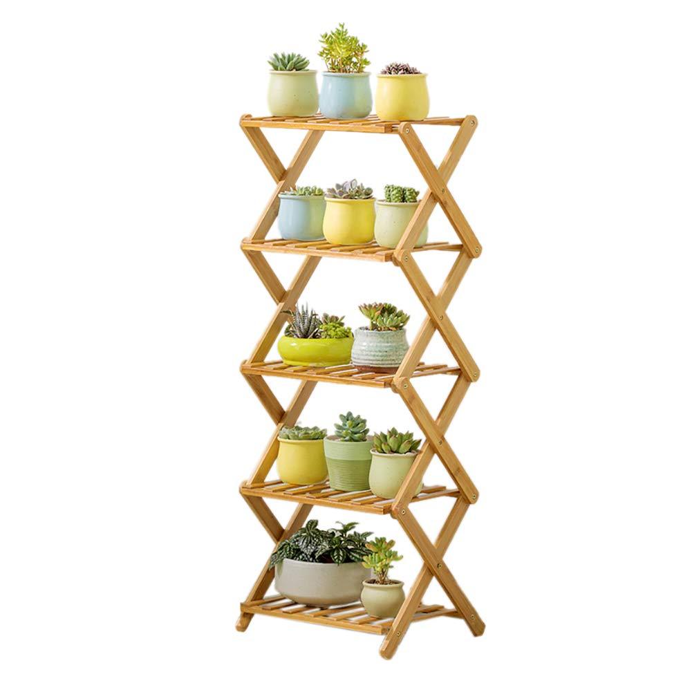 Mensola dei fiori Flower Stand Bamboo Folding, Flower Shelf for Balcony Parlor Piante grasse Flower Pot Rack (Dimensioni   5 Layers)