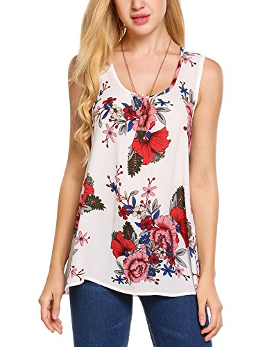 Zeagoo Women's Sleeveless Long Flowy Top Solid Basic Loose Tunic Tank Tops White Floral XX-Large