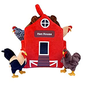 "ADORE 12"" Chicken Coop Hen House Plush Playset Carrier - 51BkoOcHnDL - Adore 12″ Hen House Chicken Coop Plush Stuffed Animal Playset"