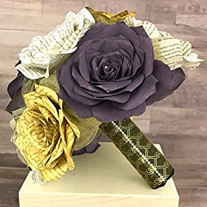 Gold and Purple Book Page Wedding Bouquet 88