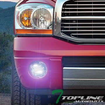 Topline Autopart 8000K HID Xenon Kit + Smoke Chrome Crystal Bumper Driving Fog Light Lamp w/Covers + Switch DY For 02-09 Dodge Ram 1500 2500 3500/04-06 Durango