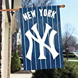 "Official Major League Baseball Fan Shop Authentic MLB Man Cave Flag - Banner. This Oversize 44"" X 28"" Flag Is Great for Indoors/outdoors All Season Long. Heavy-weight Nylon and Applique Embroidery Will Make Your Any Room Show Support for the New York Yankees."