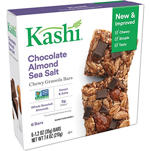 Kashi Chewy Granola Bars, Chocolate Almond Sea Salt, Non-GMO Project Verified, 7.4 oz (6 Count)(Pack of ()