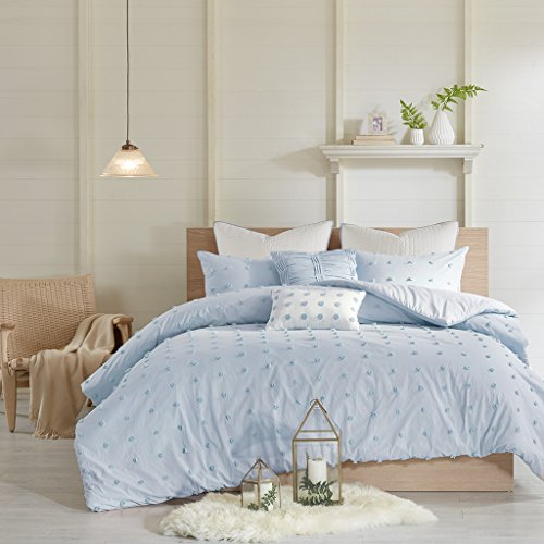 Urban Habitat Brooklyn Duvet Cover Reversible Solid 100% Jacquard Weave Small Cotton Tuft Dots Texture Pleated Pillow Quilted Euro-Sham Soft All Season Bedding-Set, Full/Queen Size, Blue ()