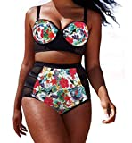 YFFaye Women's Colorful Floral Print Mesh Detail Plus Size Swimsuit