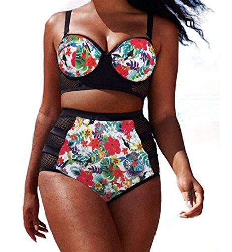 YFFaye Women's Colorful Floral Print Mesh Detail Plus Size Swimsuit