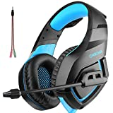 PC Gaming Headset for PS4 XBOX One, Onikuma 3.5mm Stereo USB LED Headphones with Omnidirectional Microphone, Volume Control for Computer Laptop Mac PlayStation 4 by YSSHUI-Black + Blue For Sale