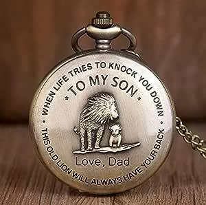 Bronze Customized To My Son Quartz Pocket Watch