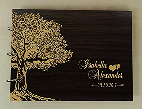 Handmade Wooden Photo Album Book Personalized Wood Engraved Wedding Tree Guest Book - Wood Photo Album Book