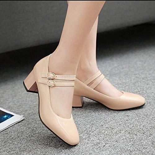 Ancho Mujer Cómodo Tacón Retro Beige Coolcept Zapatos dtwq6xXn