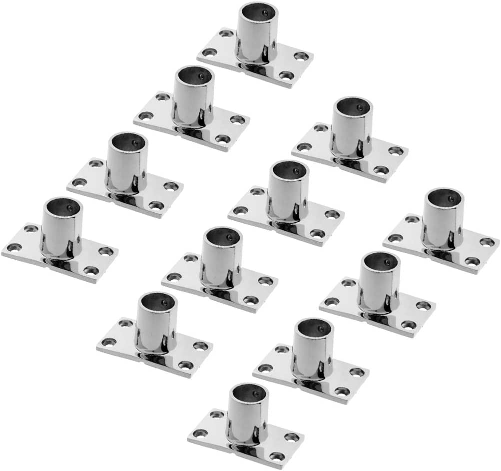 12x Boat Hand Rail Fitting 90 Degree 25mm Rectangular Stanchion Base Marine