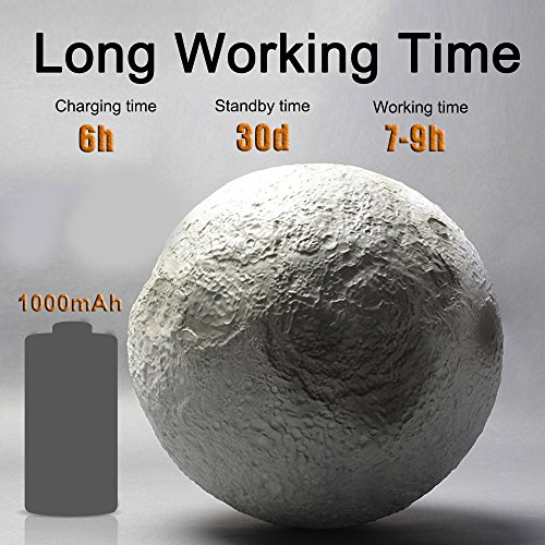 -[ Soriace® 3D Printing Moon Lamp, 13CM Rechargeable Bedroom Night Light Moon Light Table Desk