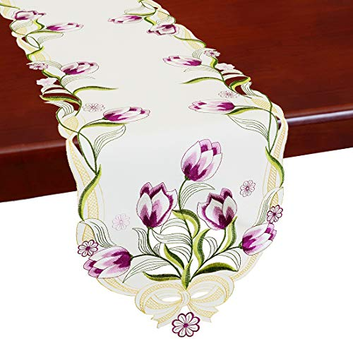 Simhomsen Embroidered Tulip Table Runners, Spring Floral Table Linens (Purple, 13 × 68 Inch)]()