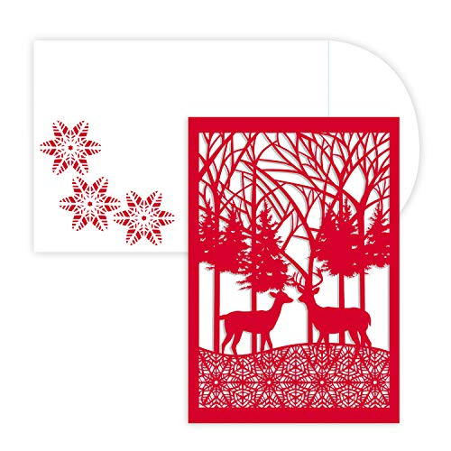 Masterpiece Holiday Collection 12-Count Laser Cut Christmas Cards, Winter - Christmas Die Cut Cards