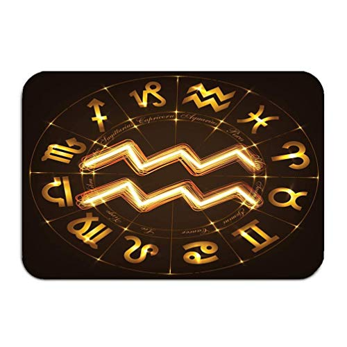 Aquarius Dots - YGUII Outside Shoe Non-Slip Color Dot Doormat Zodiac Sign Aquarius fire Show Style Horoscope Circle Background Circle Signs Constellations Mats Entrance Rugs Carpet 16X23.6in (40x60cm)