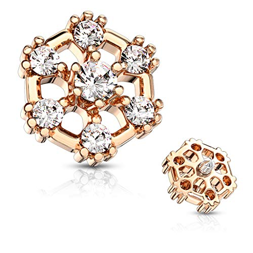 Top Jewelry Chest - MoBody 7 CZ Hexagonal Top Surgical Steel Internally Threaded Dermal Anchor Body Piercing Top 14G (Rose Gold-Tone)