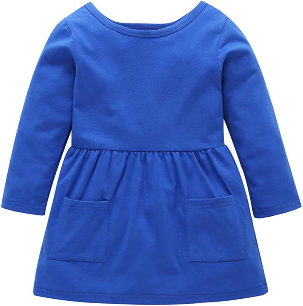 ZOMUSAR Newest Arrivals Toddler Baby Girl Kid Autumn Long Sleeve Clothes Duck Print Princess Party Dress