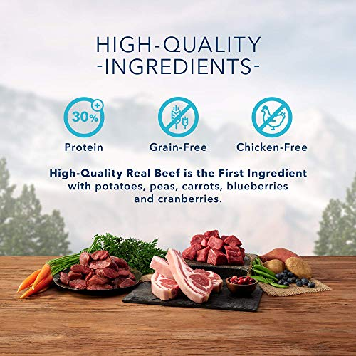 Blue Buffalo Wilderness Rocky Mountain Recipe High Protein Grain Free, Natural Puppy Dry Dog Food, Red Meat 22-lb