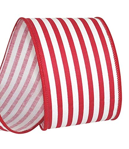 Pinstriped Red and White Woven Ribbon - 100% Cotton and Wired Edge Ribbon 2 1/2