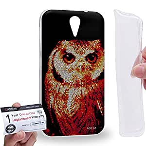 Case88 [HTC Desire 620] Gel TPU Carcasa/Funda & Tarjeta de garantía - Art Aztec Design Red Owl Animal Faces Art1283