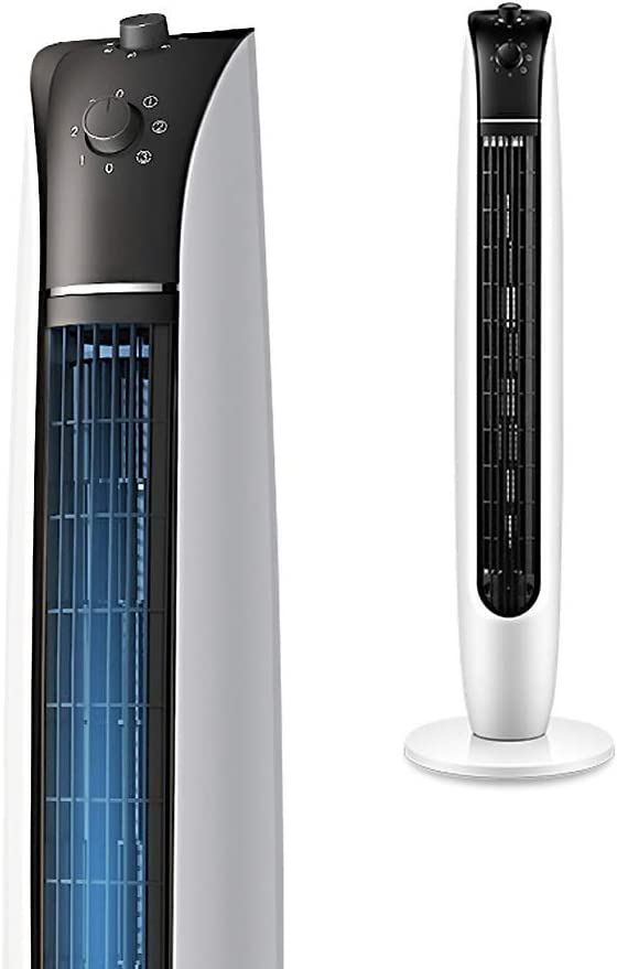 XM&LZ Home Single Cold Stand Tower Fan,Energy Efficient Oscillating Bladeless Fan,Quiet 3 Speeds Floor Air Cooler Fan with Knob Control White