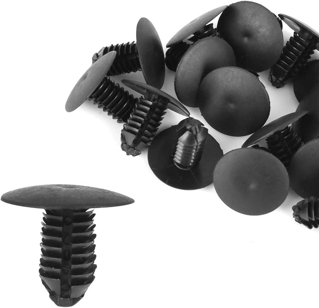 X AUTOHAUX 20pcs 8mm Hole Dia Plastic Bolt Rivets Fastener Fender Trunk Retainer Clips Black for Car