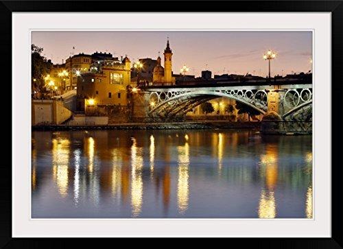 GreatBIGCanvas ''Puente Isabel II (Puente de Triana), Seville, Spain'' Photographic Print with Black Frame, 36'' x 24'' by greatBIGcanvas