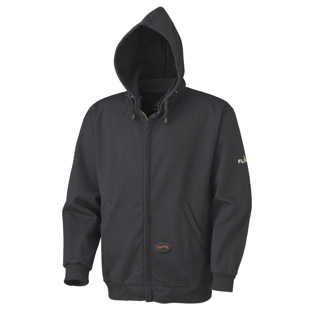 Pioneer V2570270-L Flame Resistant Heavyweight Safety Hoodie, Zip Style, Black, L