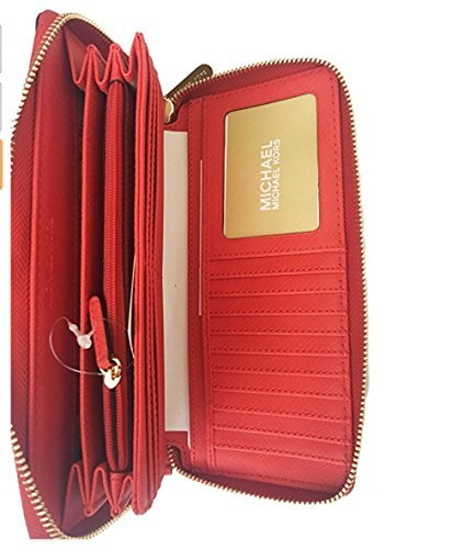 Michael Kors Jet Set Item Travel Continental Leather Wallet Clutch Wristlet (Sienna Red/Gold)