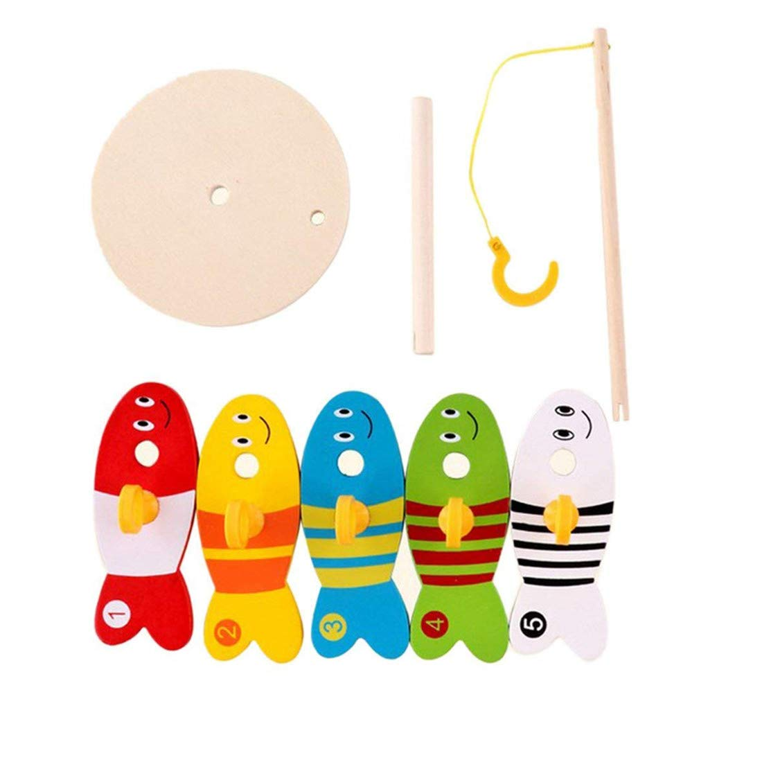 Yingwei VWH 8 Pcs en Bois de P/êche Jouets pour Enfants Num/érique Colonne Montessori Jouets /Éducatifs